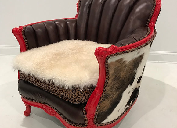 "Antique ""Cowboy"" Chair, Low Back, Red, Cowhide/Leather/Sheepskin"