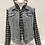 Thumbnail: L/S Lt Blue Denim Jacket, Tweed sleeves/lining/numbers, pearls