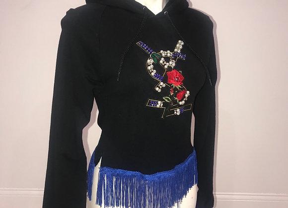 L/S Pullover Hoody Sweatshirt YSL Rhinestone Patch