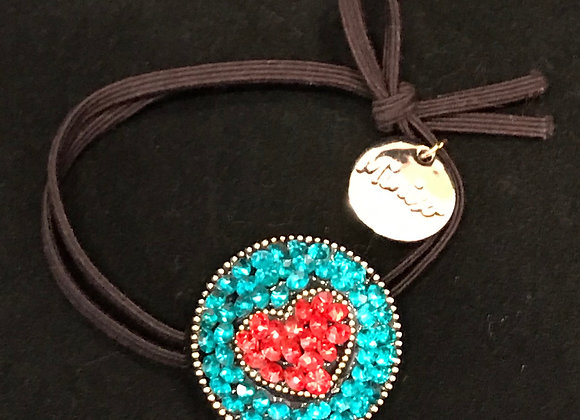 Hair Band, Elastic, Heart, Red/Teal Crystals