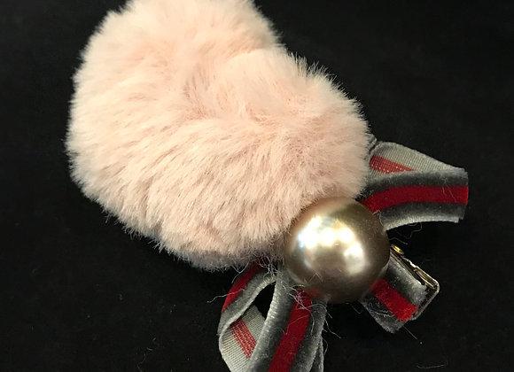 Hair Clip, Heart, Pink Faux Fur Puff, Pearl, Velvet Bow