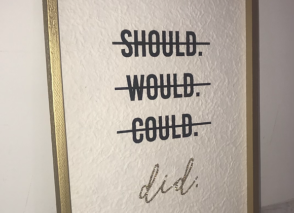 """""""Should Would Could Did"""" Wall Art Swarovski Crystal"""