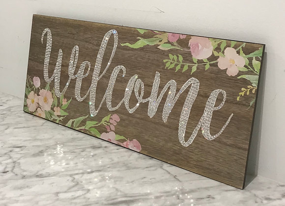 """Welcome"" Wood, Wall Art, Swarovski Crystals"