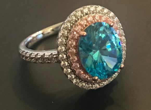 Ring, Moissanite Gemstone, Lt Blue Oval