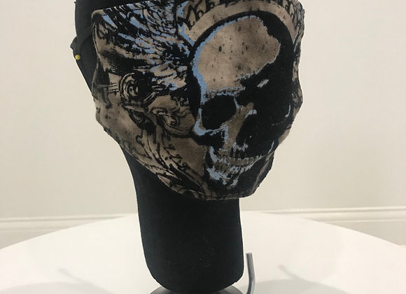 VINTAGE AFFLICTION, Graphic T-shirt, Beige, Skull, GLAMical face masks