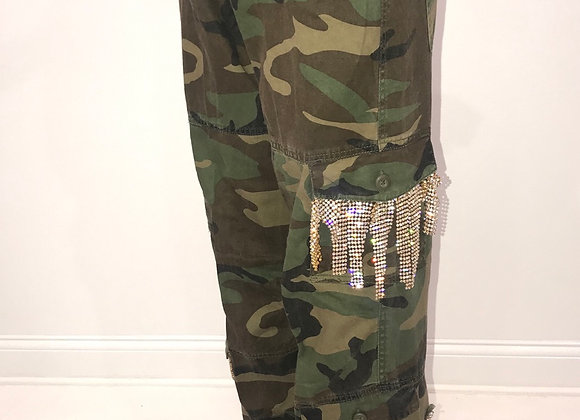 Ladies GLAMO Pants, Army Green Cargo, pockets- dangle gold crystal mesh