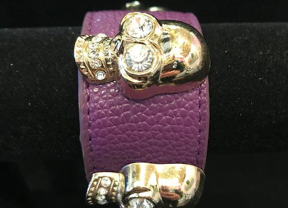 Bracelet, Leather Cuff, Purple, Silver Skulls, Crystal Eyes
