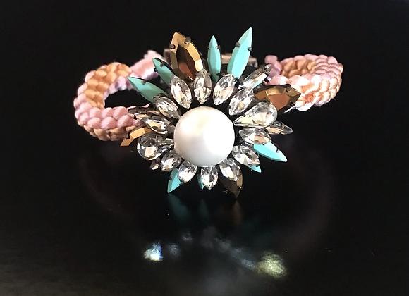 Bracelet, Flower, Crystals, Pink