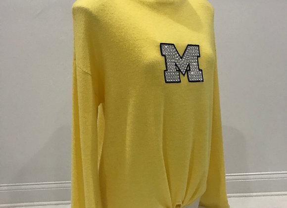 U of M Wolverines, Bell Sleeve Sweater, Yellow, Swarovski Crystal