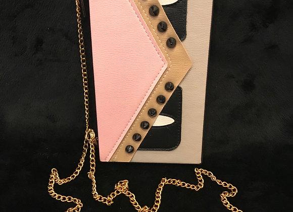 CELL PHONE CASE, Fendi, Pink/Black/Tan, Purse Chain, iphone  8 plus
