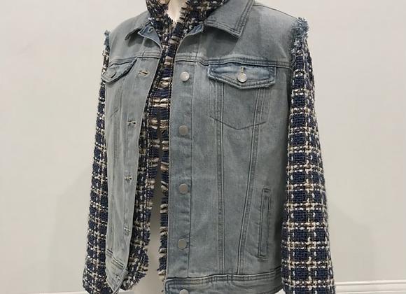 L/S Lt Blue Denim Jacket, Tweed sleeves/lining/numbers, pearls