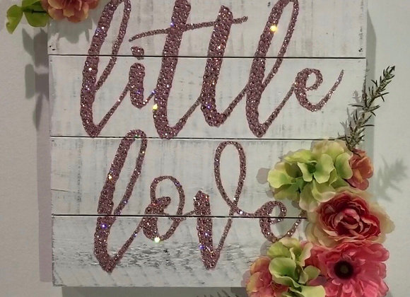 """Little Love"" Wall Art, Wood, Silk Floral, Swarovski Crystals"