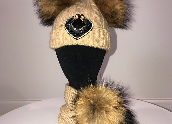 Winter Hat & Scarf Set, Beige, fox fur pom, HEART