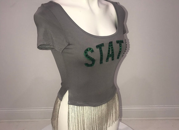 MICHIGAN STATE, S/S Crop T-Shirt, Swarovski Crystals, Beaded Silver Fringe