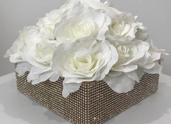 Boxed Silk Floral Bouquet, Swarovski Crystals