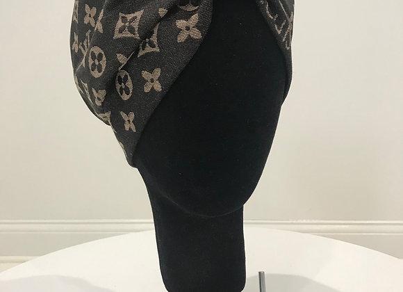 LOUIS VUITTON, Cashmere, Black/Khaki,LV round-Swarovski Crystal, GLAMical turban