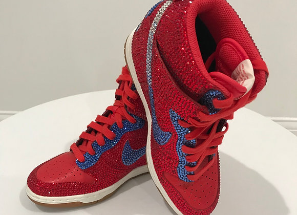 NIKE dunks, Red, Swarovski Crystals - Red/Blue/Clear