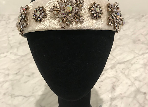 Headband, White Lace, Crystals, Snowflake