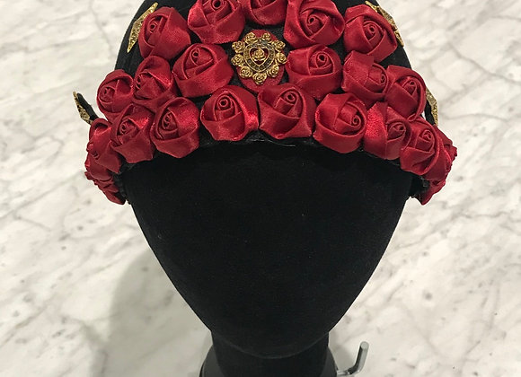 Headband, Red Satin Roses, Baroque Crown, Stars