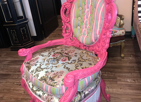 "Antique ""Hippie"" Chair, High Back, Hot Pink, Ombre Fringe"