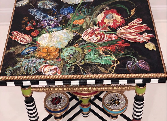 DON'T BUG ME, Antique Table, Hand Painted, Crystals