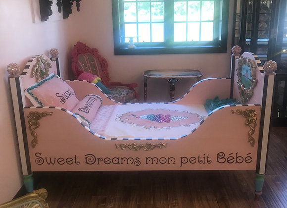 SWEET DREAMS, Sleigh Bed, Refinished, Hand Painted, Crystals