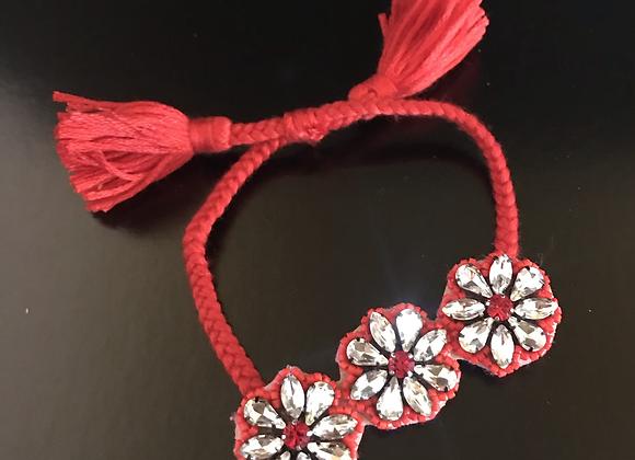 Bracelet, Flowers, Red