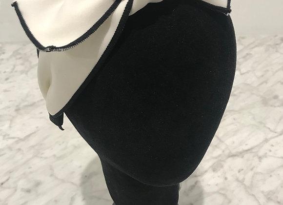 Headband, White Cotton, Bow Knot, Black Pinstripe edge