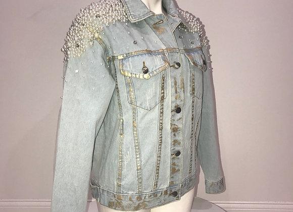 Ladies Lt Blue Denim Jacket, Gold Paint, Pearls, Rhinestones