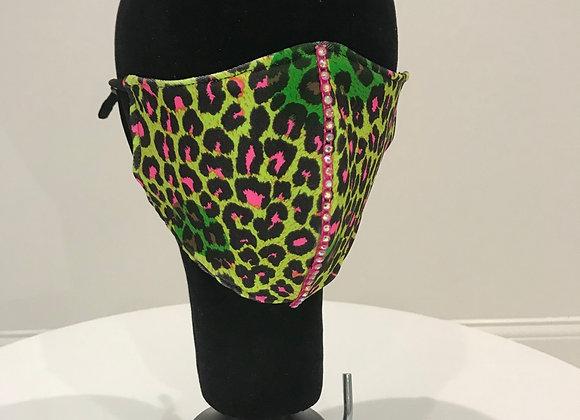 Leopard, Pink/Green, Pink Swarovski Crystal center, GLAMical face mask