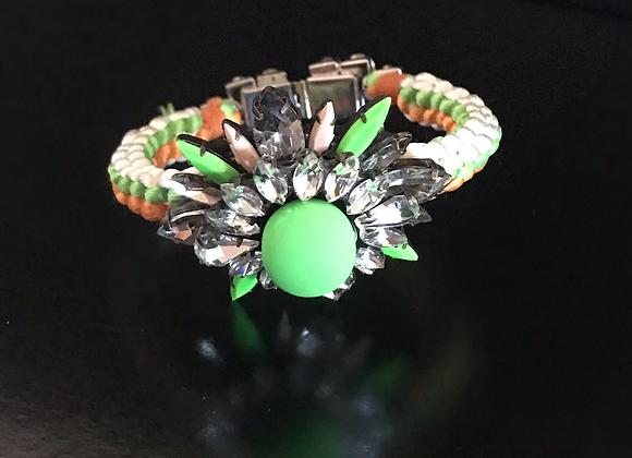 Bracelet, Flower, Crystals, Orange/Green/White