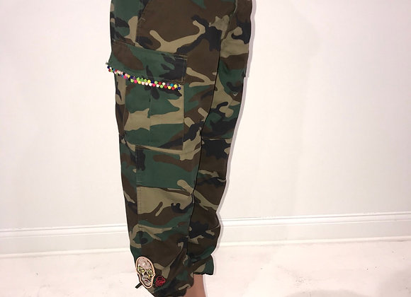 Ladies GLAMO Pants, Army Green Cargo, designer skull patches, pom pom fringe