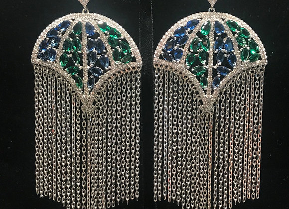 Earrings, Pierced, Umbrella Chain Dangle,  Cubic Zirconia -Green/Blue