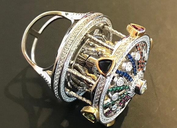 Ring, Cubic Zirconia - Multi Color, Carousel