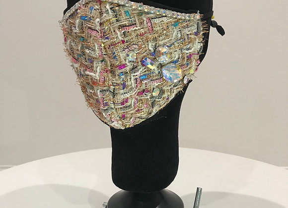 Tweed, Creme - Multi Color, Swarovski Trim & Large Crystals, GLAMical face mask