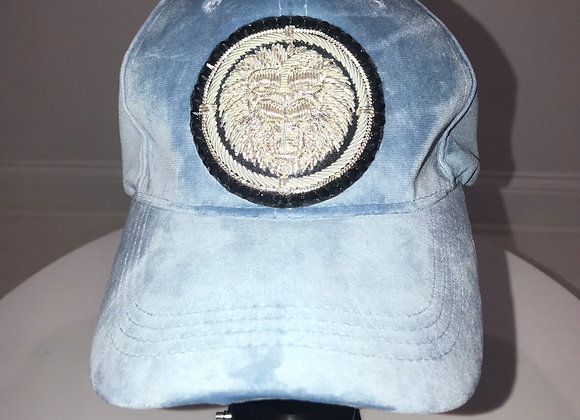 LION HEAD, Lt Blue Velvet Embroidered, Baseball Hat, Swarovski Crystals