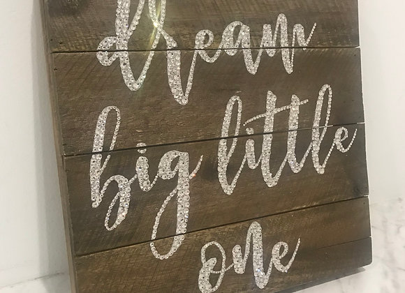 """Dream Big Little One"" Wall Art, Wood, Swarovski Crystals"