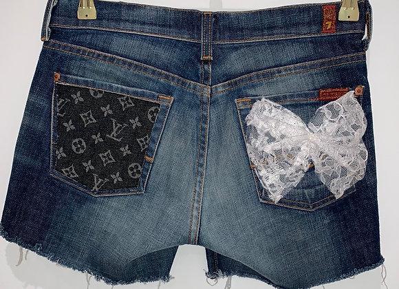 Denim Cut Off Shorts, 7 FOR ALL MANKIND, Blue, Louis Vuitton, Swarovski Crystals
