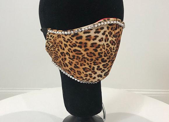 Leopard, Swarovski Crystals Edges, GLAMical face mask