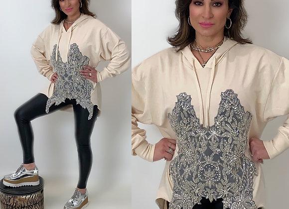 Swarovski Embellished Bodice, Pullover Hoody, Blush