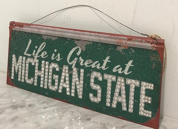 """Life Is Great At Michigan State"" Wall Art, Metal, Swarovski Crystals"