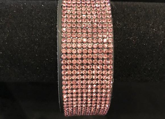 Bracelet, Leather Cuff, Black, Lt. Purple Crystals