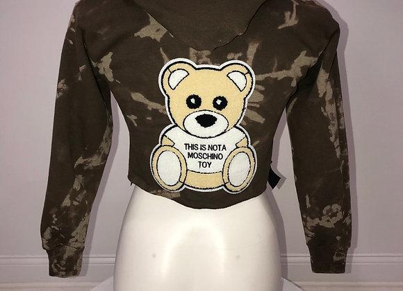 L/S Hoody Crop Sweatshirt, Bleach Brown, Moschino Teddy Bear