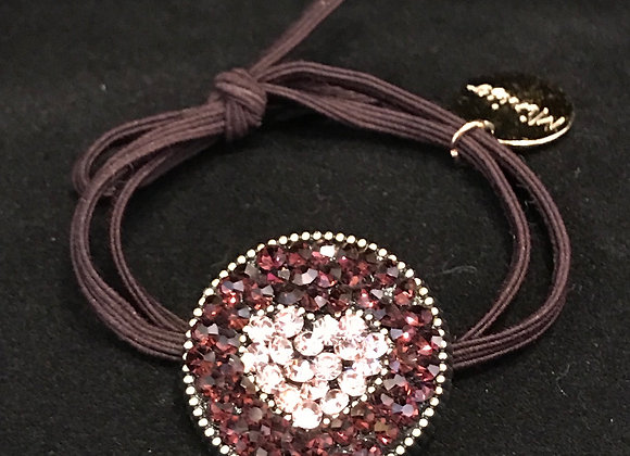 Hair Band, Elastic, Heart, Dark Purple/Pink Crystals