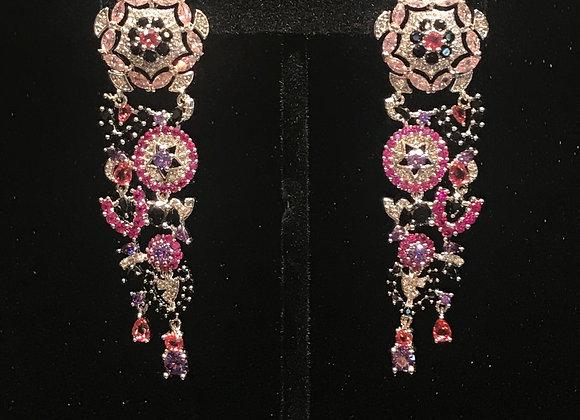 Earrings, Pierced, Flower Tassle Dangle,  Cubic Zirconia