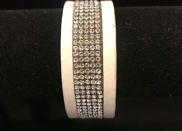 Bracelet, Leather Cuff, White, Clear Crystals