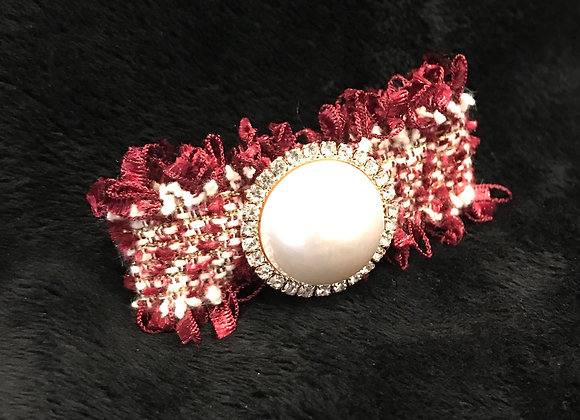 Hair Clip, Red Tweed, Rectangle, Pearl