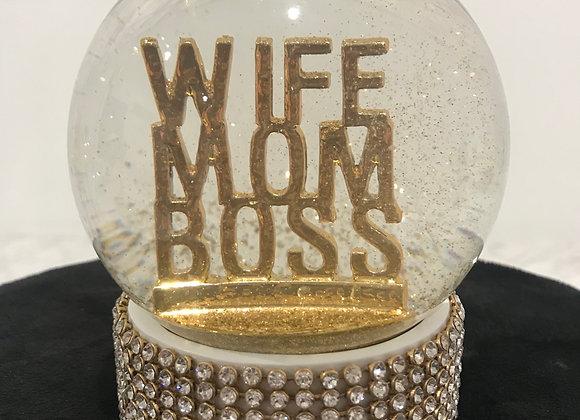 WIFE MOM BOSS, Glass Snow Globe, Gold Glitter, Swarovski Crystals