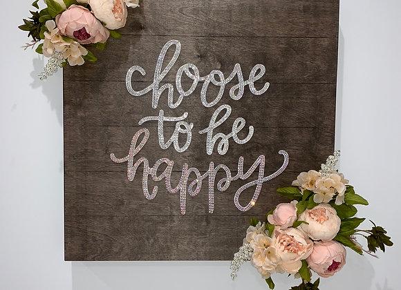 """Choose to be happy"" Wall Art, Wood, Silk Floral, Swarovski Crystals"