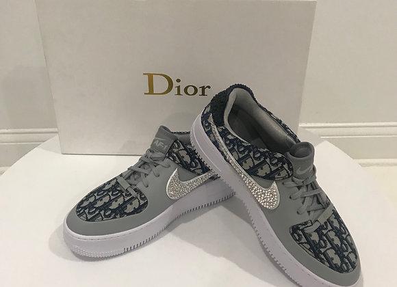 NIKE AF1, Christian Dior Detail Sneakers, Blue Brocade, Swarovski Crystals